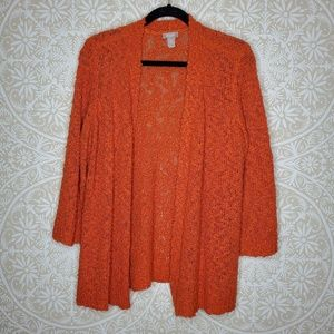 Chicos Acrylic Open Cardigan Sweater Orange 2